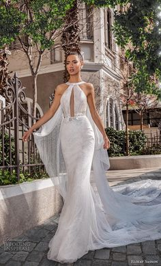 sasson 2019 bridal sleeveless halter neck keyhole bodice light embellishment glitzy elegant glamorous fit and flare sheath wedding dress keyhole back royal train mv -- Elihav Sasson 2019 Wedding Dresses Dresses Elegant, Stunning Wedding Dresses, Wedding Dress Trends, Dream Wedding Dresses, Wedding Attire, Beautiful Gowns, Bridal Dresses, Vintage Dresses, Prom Dresses