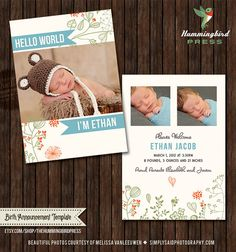 INSTANT Download - PSD 5x7 Birth Announcement Card Template - B35. $8.00, via Etsy.