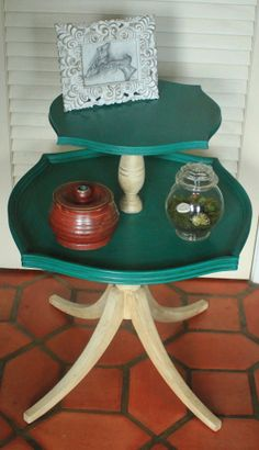 Painted Vintage Turquoise Pedestal Table via Revisited Concepts on Etsy