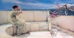 Sir Lawrence Alma-Tadema( Dronrijp, 8 gennaio 1836 – Wiesbaden, 25 giugno 1912), Expectations, Private Collection, oil on canvas, 66.1 x 45 cm
