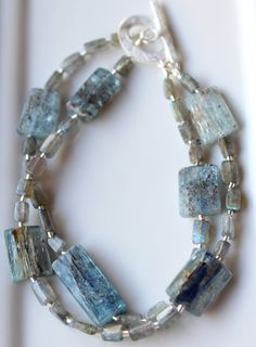 Blue Kyanite and Labradorite rectangle beads double strand bracelet