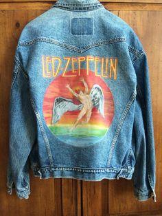 Denim jackets: Hand-painted Jacket Led Zeppelin by PeaceLoveSoul . Painted Denim Jacket, Painted Jeans, Painted Clothes, Hand Painted, Diy Jeans, Custom Clothes, Diy Clothes, Denim Kunst, Jean Jacket Outfits