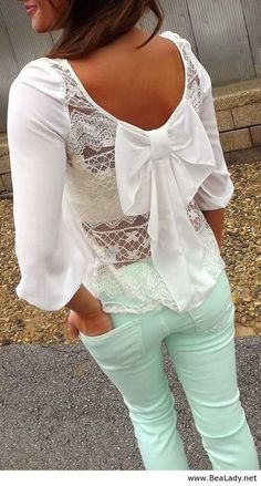 Icy Mint pants for spring! The bow adds such a cute feminine flare - tween clothes - lace top