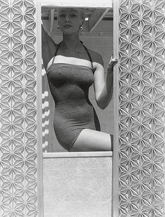 Model in Woollen Swimsuit between Screens, 1953 by Horst P. Horst.