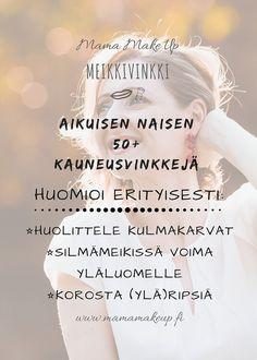 Meikkivinkki Aikuinen Nainen 50+ Insta Story, Makeup, How To Make, Hair, Instagram, Make Up, Beauty Makeup, Bronzer Makeup, Strengthen Hair