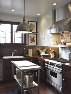 dark bottom cabinets, dark wood floors, lighter upper cabinets 111810JohnSaintDenisHouseTour_16.jpg