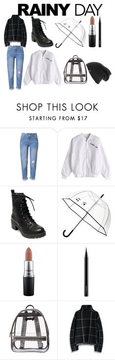 """""""RaIn WoMaN"""" by nuraysahsuvarli ❤ liked on Polyvore featuring WithChic, Madden Girl, Kate Spade, MAC Cosmetics, Betsey Johnson, Chicwish and The North Face"""
