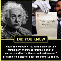 Einstein's wisdom in the pursuit of happiness Wierd Facts, Wow Facts, Real Facts, Wtf Fun Facts, True Facts, Funny Facts, True Interesting Facts, Interesting Facts About World, Intresting Facts
