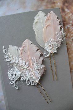 Blush Champagne Peacock Feather Hair Pins Peacock hair pins