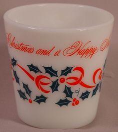 Vintage Pyrex Merry Christmas  and a Happy New Year #1410 10 oz Mug RARE D.
