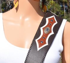 Guitar or bass strap western style with oval concho. Instrument strap handmade by VickiDesignsCA