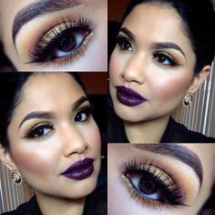Love a dark purple lip! Beautiful vampy makeup!