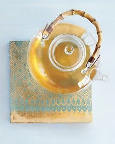 """Tiles painted with metallic paint and stenciled """"lace"""". Use as trivets or coasters. Pretty! And classy!"""