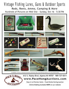 Vintage Fishing Lures, Guns, Holsters, Outdoor Sports & Lots More! http://www.auctionzip.com/auction-catalog/catalog_LP7VCTU03A
