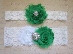 Emerald Green Wedding Garter Set - Choose White or Ivory & Rhinestone or Pearl. $20.00, via Etsy. grass green