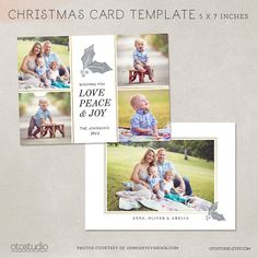 Digital Photoshop Christmas Card Template for by OtoStudio on Etsy