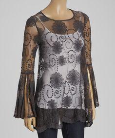 Look what I found on #zulily! Black Crochet Scoop Neck Shift Dress by Mechant #zulilyfinds