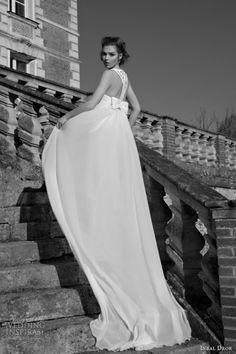 inbal dror wedding dresses 2013 2014 column gown lace racer back bow accent