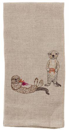 Coral & Tusk embroidered Linen Tea Towel - Sea Otters