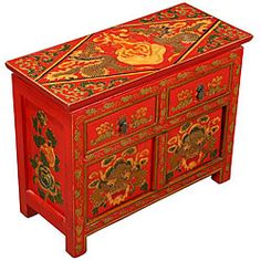 @Overstock - Add a touch of vintage Tibet to your living room with this storage cabinetAntique-style end table features green and gold dragons and Buddhist designsHand-painted furniture looks great next to your favorite chair or sofahttp://www.overstock.com/Home-Garden/Hand-painted-Tibetan-Red-Dragons-Storage-Cabinet/3396529/product.html?CID=214117 $166.99
