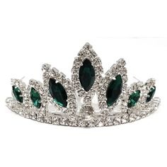 Exquisite Green Crystal Prom Wedding Crown Tiara comb T35 (62 DKK) ❤ liked on Polyvore featuring accessories, hair accessories, crowns, tiara, crystal crown, tiara comb, braid crown, tiara crown and hair comb accessories