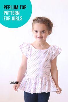 """""""hello spring"""" girls' top Cute peplum top sewing pattern for girls!Cute peplum top sewing pattern for girls! Kids Clothes Patterns, Sewing Kids Clothes, Sewing Patterns For Kids, Dress Sewing Patterns, Sewing For Kids, Sewing Pants, Barbie Clothes, Sewing Ideas, Girls Shirt Pattern"""