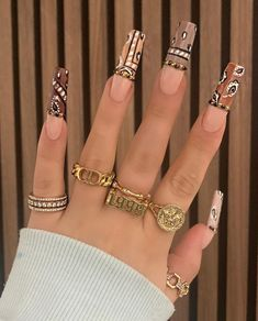 Brown Acrylic Nails, Bling Acrylic Nails, Square Acrylic Nails, Best Acrylic Nails, Long Square Nails, Edgy Nails, Stylish Nails, Swag Nails, Nail Design Stiletto