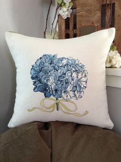 Beginnings 14x14 Hydrangea Pom Pom Decorative Pillow Cover,  Personalized Decorative Occasions Pillow Cover, Accent Pillow Sham - pinned by pin4etsy.com
