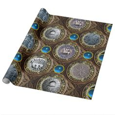 SEAL OF THE KNIGHTS TEMPLAR Blue Sapphire Gems Gift Wrap Paper