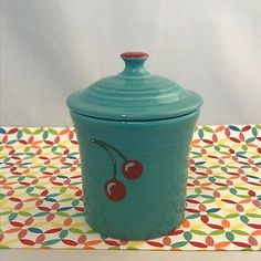 HLCCA exclusive Fiesta® Dinnerware Cherries on Turquoise Jam Jar. Made in the USA by Homer Laughlin China Company