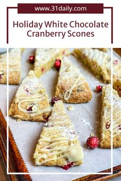 These White Chocolate Cranberry Scones, perfect for afternoon tea or any holiday occasion, are buttery, mildly sweet, infused with fresh cranberries and rich, velvety white chocolate. Honestly, it's Christmas in every bite! Chocolate Avocado Brownies, Chocolate Covered Bananas, White Chocolate, Blueberry Crumble Bars, Strawberry Oatmeal Bars, Quick Healthy Desserts, Great Desserts, Dessert Ideas, Cranberry Scones