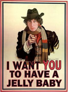 "AWESOME! So Whovian moment the other day: I was at our marching band dance we have every year after marching season, and I was with my friend and we were talking and all of a sudden this kid (who is obviously a whovian and knows I'm a whovian) pops up next to us holding a handful of jellybeans and was all like ""would you like a jellybaby?"" In a British accent. My friend was utterly confused :D"