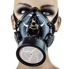 Red Sound Activated Plasma Light Rave Cyber Gas Mask w/ Single Respirator #DysfunctionalDoll