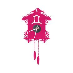 """Pink Cuckoo Clock that """"stick"""" on the wall. Love the vibrant pink color and artistic design."""