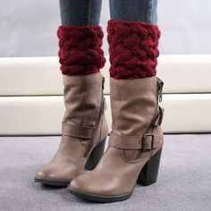 Women Winter Short Leg Warmers Coarse Needle Solid Knitted Crochet Boot Cover