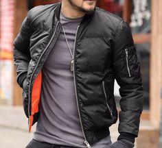 Solid Color Men's Warm Winter Jacket