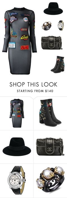 """""""Untitled #2094"""" by bushphawan ❤ liked on Polyvore featuring GCDS, Valentino, Maison Michel, Chanel and Glam Rock"""