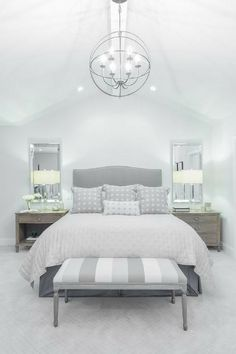 I love the idea of mirrors over the end tables to reflect the light from the bed side lamps.
