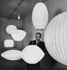Ettore Sottsas worked for a month and inspired by george nelson and loved the pop art culture and design. 1952 Issue of Interior Magazine featuring George Nelson with his lamp designs Plywood Furniture, Bench Furniture, Design Furniture, Design Lounge, Design Loft, Web Design, Graphic Design, Chair Design, Logo Design