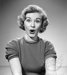 1950s woman surprised face