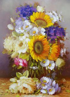 Pintura y Fotografía Artística : Fotos de Cuadros de Flores al Óleo, Jorge Maciel (Brasil)