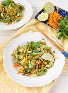 Get the comfort of pad thai in your own home.  This healthy version substitutes zucchini noodles in place of rice noodles.