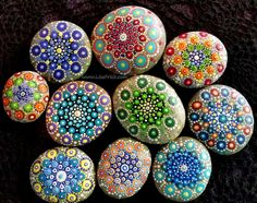 Dotilism painted rocks. These are really fun to do, so relaxing!!