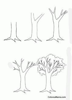 Draw a tree on the hallway wall on large scale and post family photos hanging from the limbs.the family tree! Drawing Lessons For Kids, Art Drawings For Kids, Pencil Art Drawings, Landscape Drawing Tutorial, Landscape Drawings, Dream House Drawing, Desenhos Halloween, Tree Drawing Simple, Farm Animal Coloring Pages