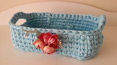 Crochet oval basket