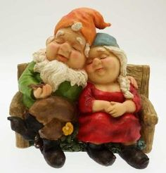 "Sleeping Garden Gnome Couple in love- Wide 10"" Ornament"