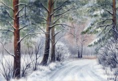"""Watercolor Original 5"""" x 3,5"""" Painting a Day Winter by Elena Mezhibovsky #Miniature"""