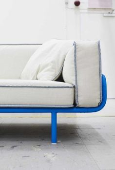 Great new IKEA sofa for urban/minimalist spaces, with a little pop of electric blue.