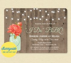 This version of our rustic barnwood & lights invitation features our new coral peony in a mint green mason jar. It is shown personalized for an I DO BBQ, but the wording can be customized for a wedding shower, bridal shower, couples shower, birthday etc. More flower choices and accent colors available by request! Jar also available in blue as shown in last photo.  ☀ Couples initials personalize the mason jar ☀ This listing is for a printable, digital file ☀ You will receive a high resolu...