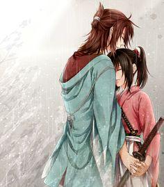 Hakuouki~Okita Souji and Chizuru, Rainy Embrace